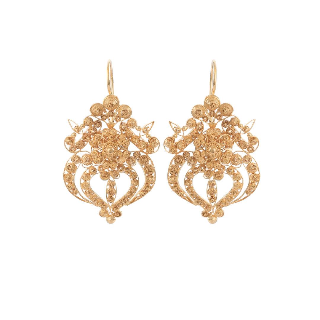 Gold Filigree Earrings, Brincos Filigrana em Ouro