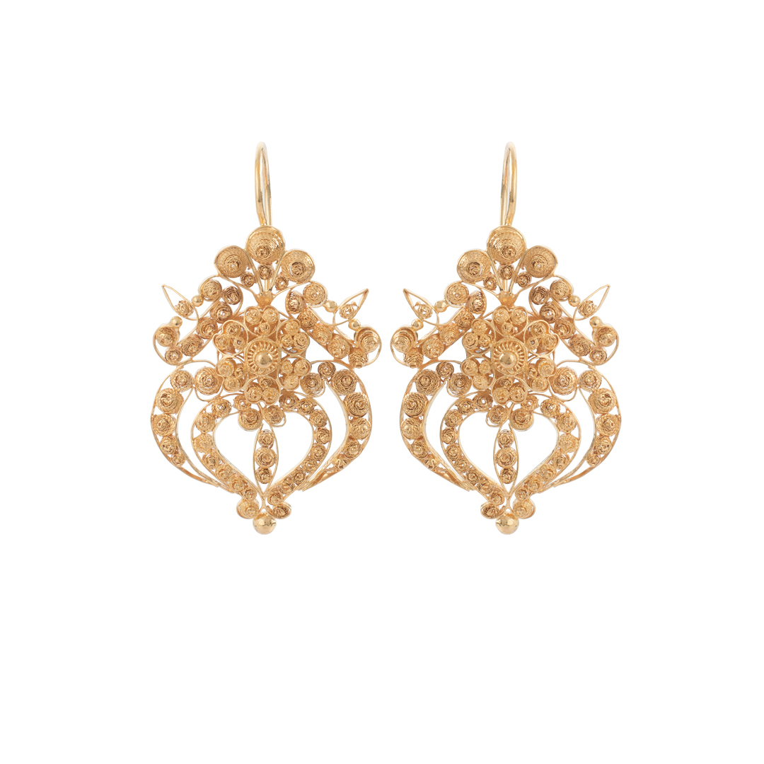 Gold Filigree Earrings, Brincos Filigrana em Ouro