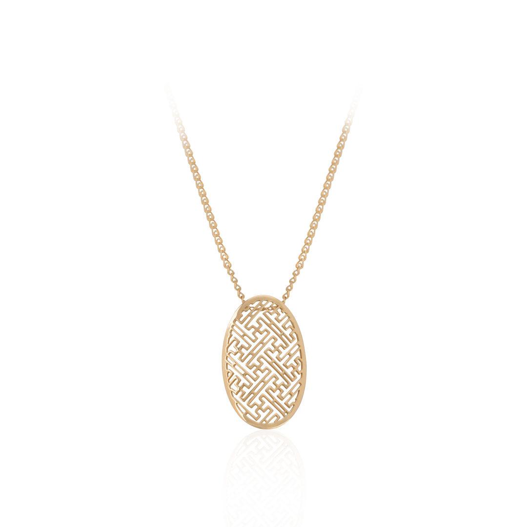 19.2Kt Gold Necklace, Gold Necklace, Colar Labirinto em Ouro