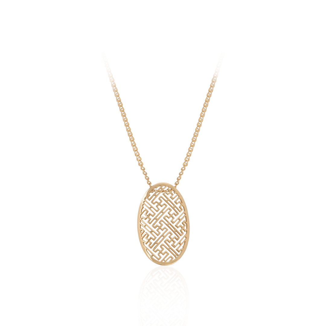 19.2Kt Gold Necklace, Gold Necklace, Colar Labirinto em Ouro