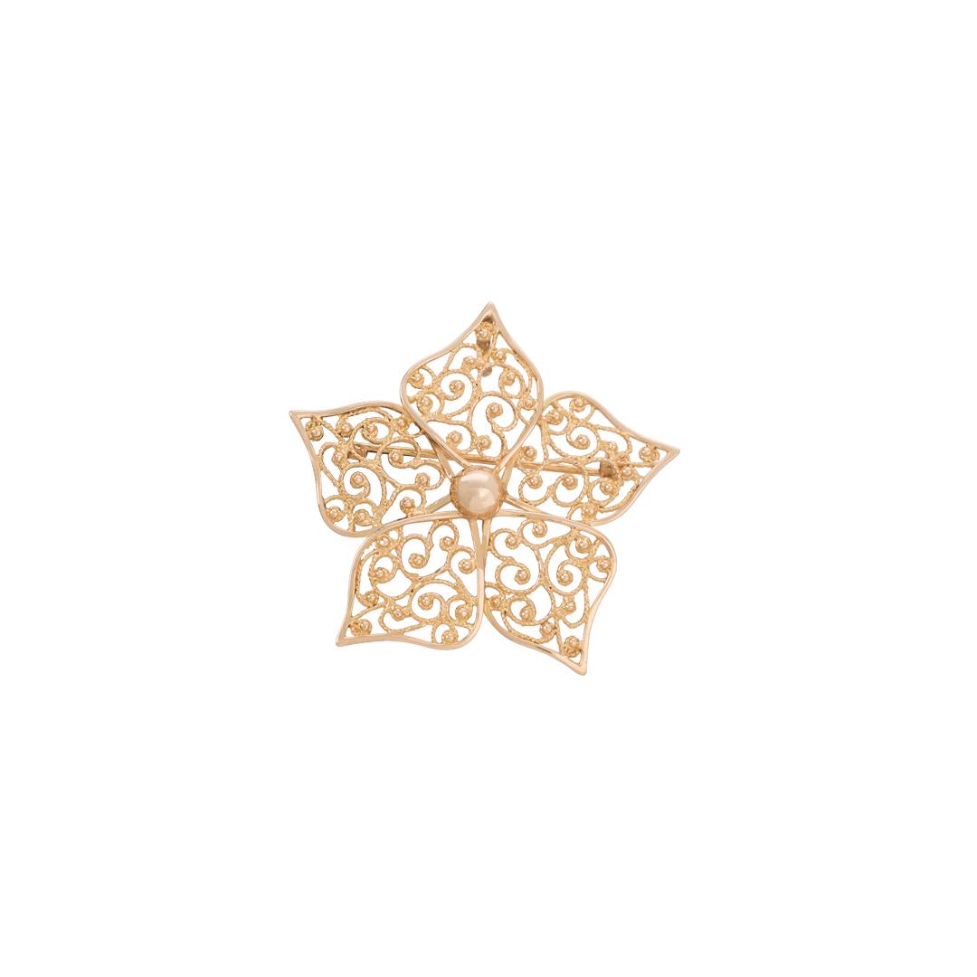 19.2Kt Gold Medallion Jasmine Leaf, Medalha Folha de Jasmim