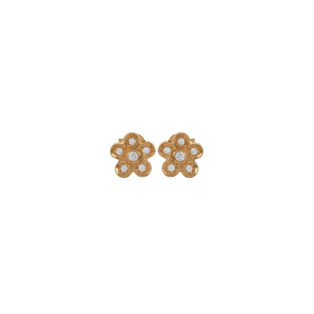 Gold Flower Earrings, Brincos Flor em Ouro