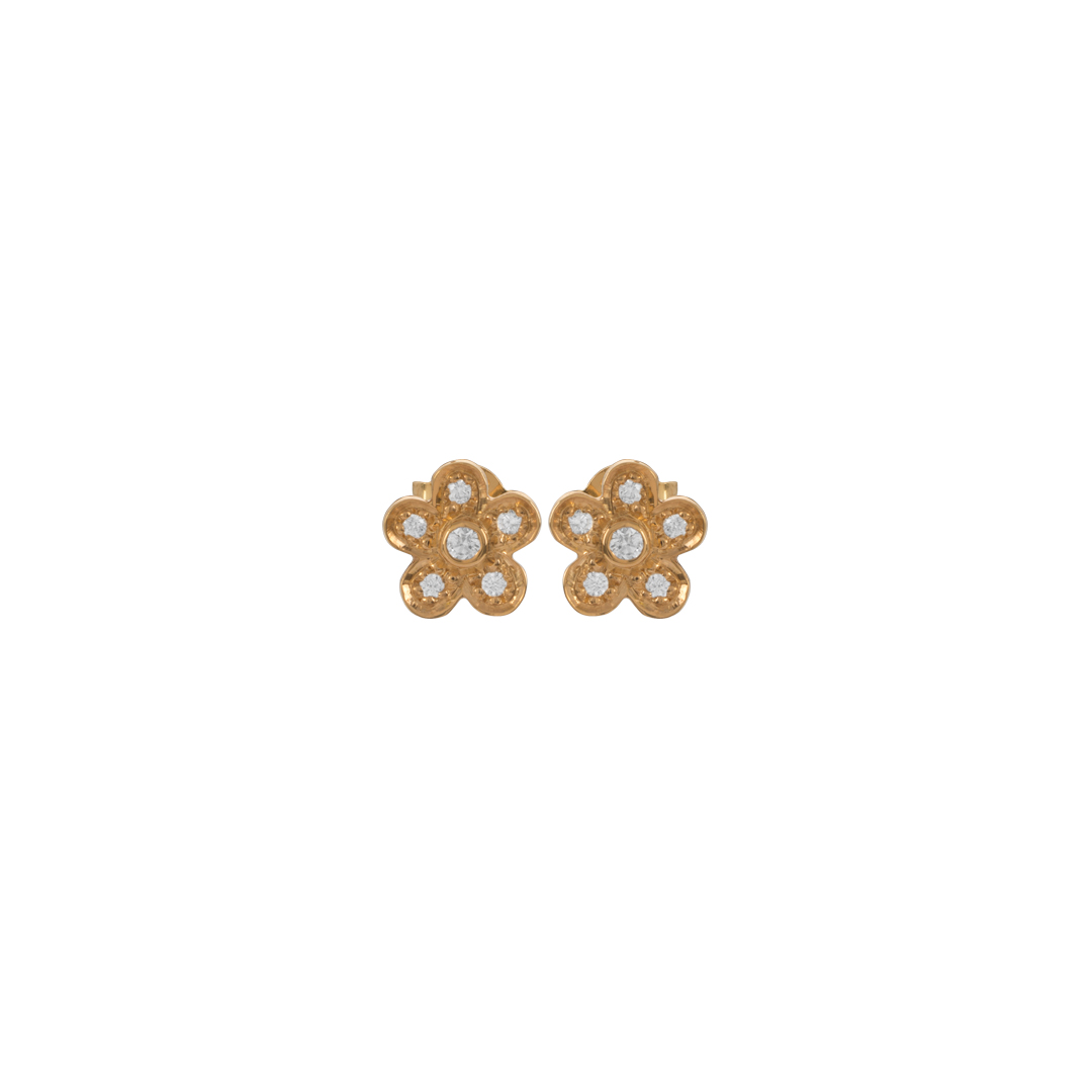 Gold Flower Earrings, Brincos Flor em Ouro