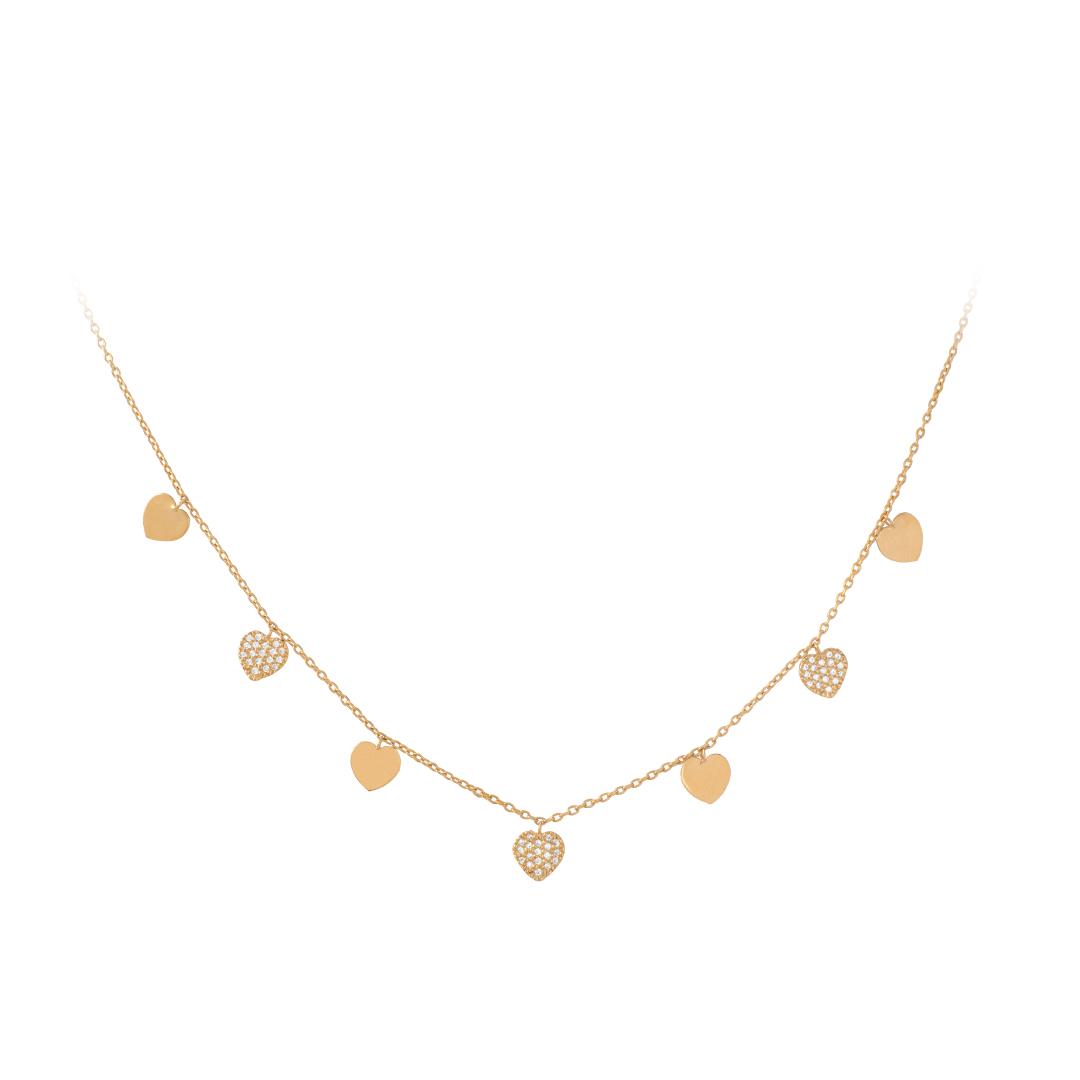 19.2Kt Gold Heart Necklace, Colar Corações em Ouro