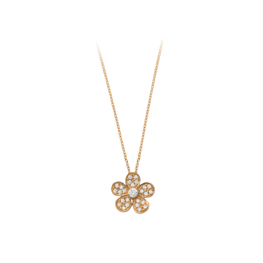 Gold Flower Necklace 19.25Kt, Colar Flor em Ouro