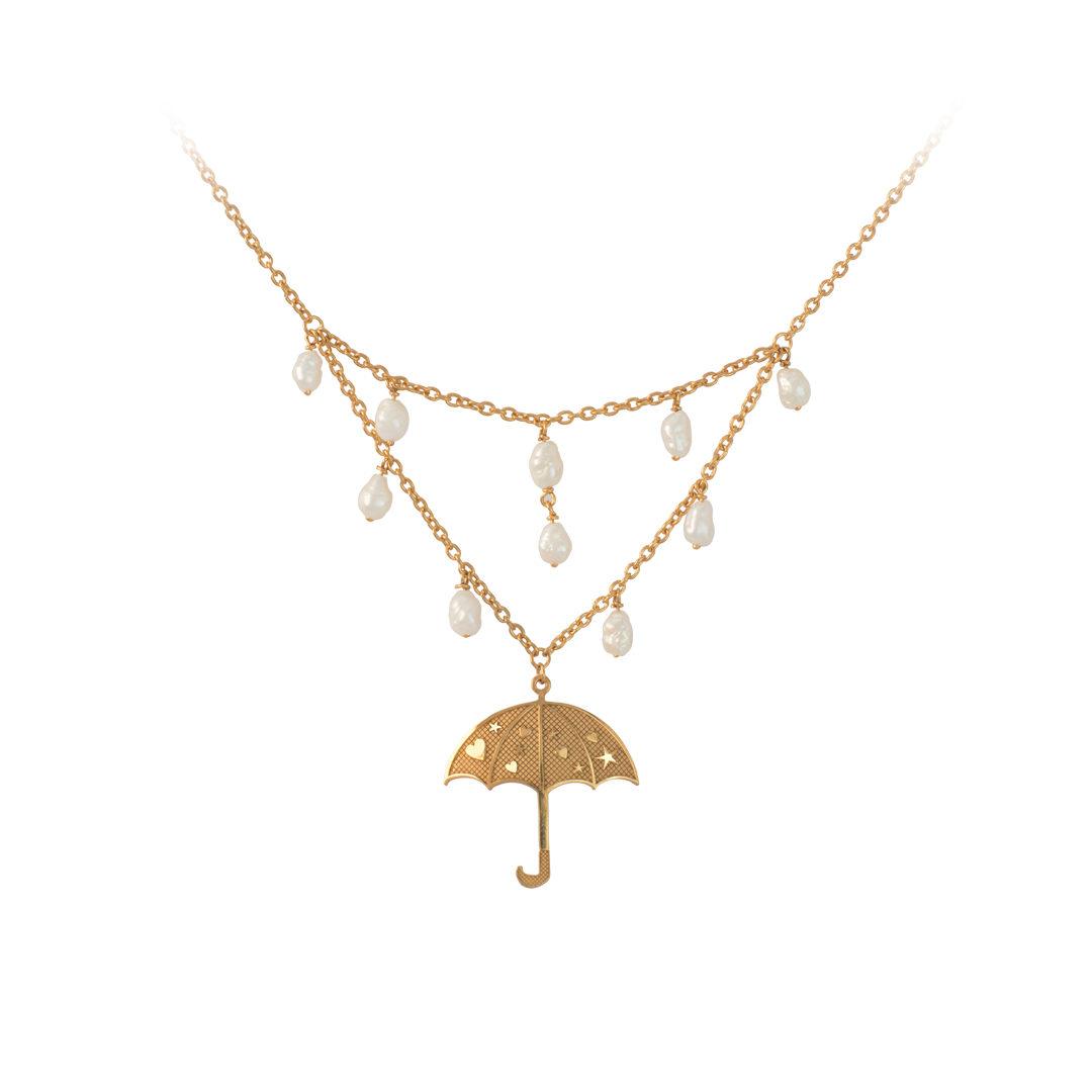 Silver Umbrella Necklace, Colar Guarda Chuva