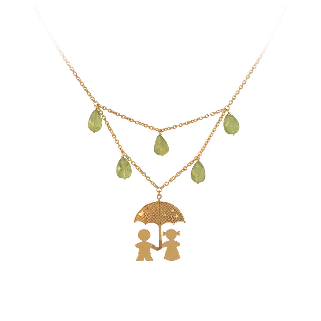 Natural Stones Umbrella Necklace, Colar Meninos Guarda Chuva