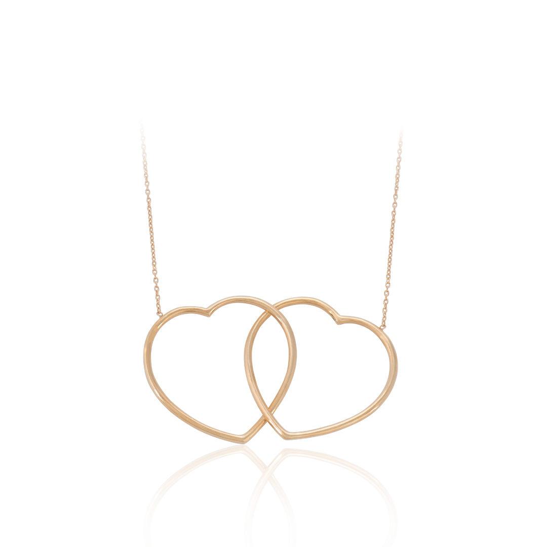 Gold Hearts Necklace, Colar Corações em Ouro