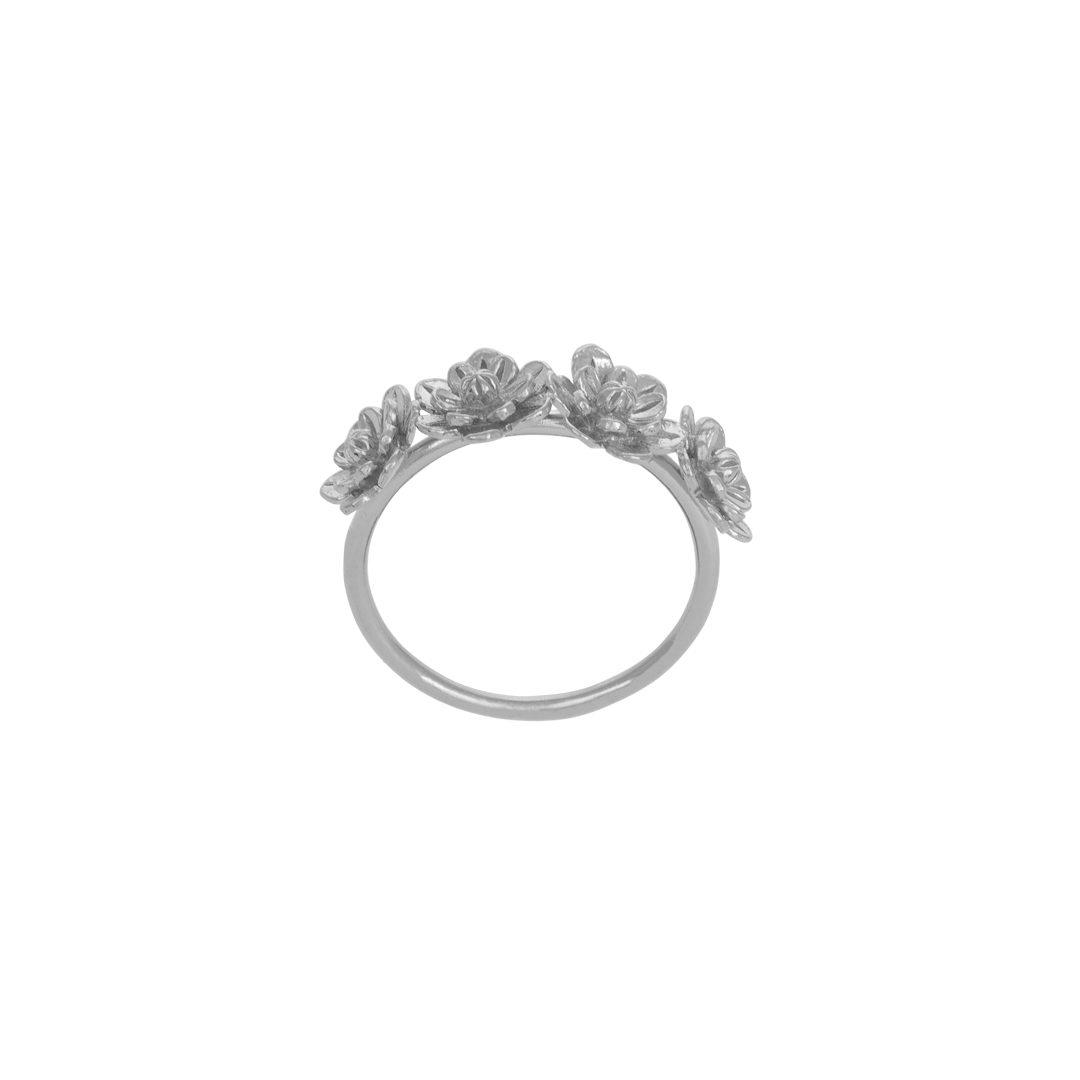 4 Flower Silver Ring, Anel 4 Flores em Prata