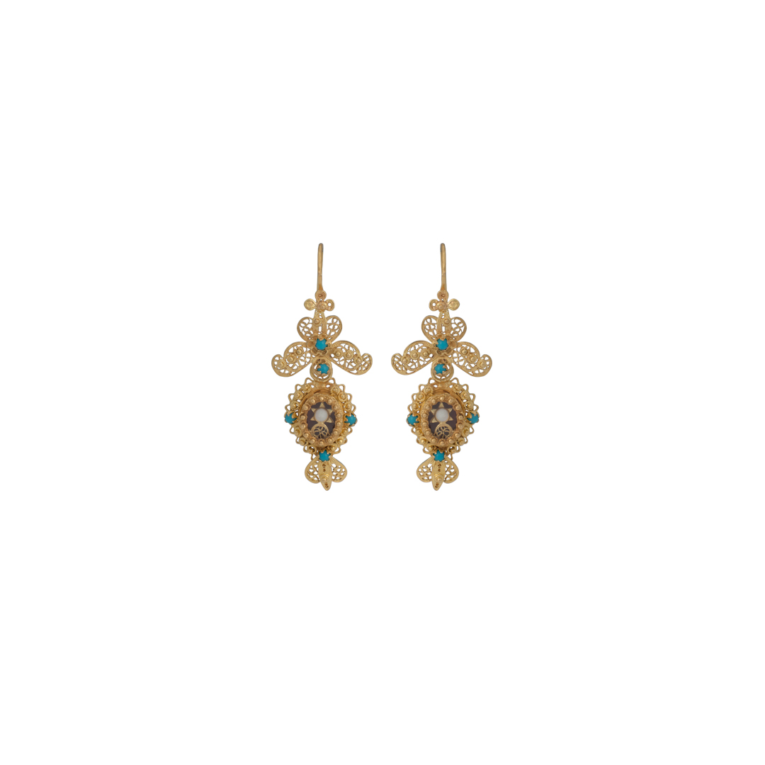 Filigree Gold Shrine Earrings, Brincos Filigrana Relicário em Ouro 19.25Kt 100%.