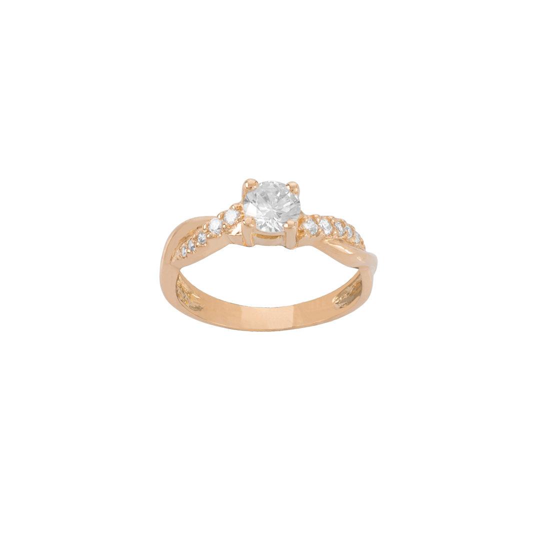 19.2Kt Gold Engagement Ring, Anel de Noivado Laço,Anel de Noivado Entrelaçado