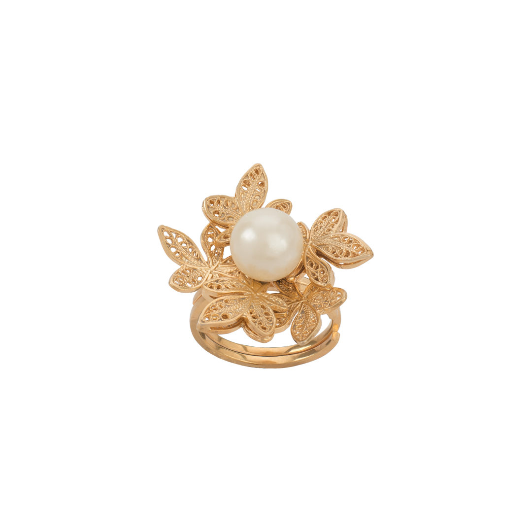 Gold Plated Silver Ring with Pearl, Anel Folhas de Plátano