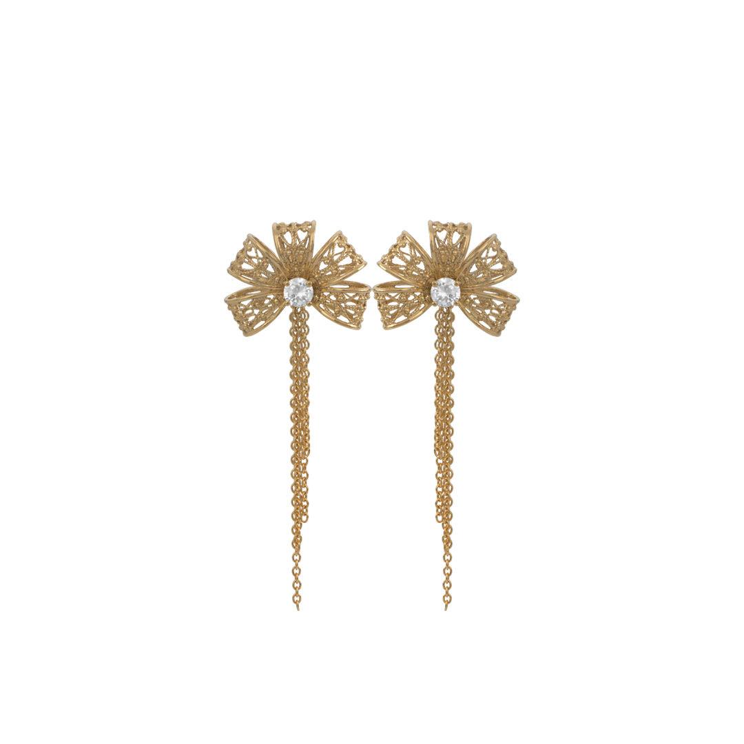 Ribbon Silver Filigree Earrings, Brincos Laço em Prata