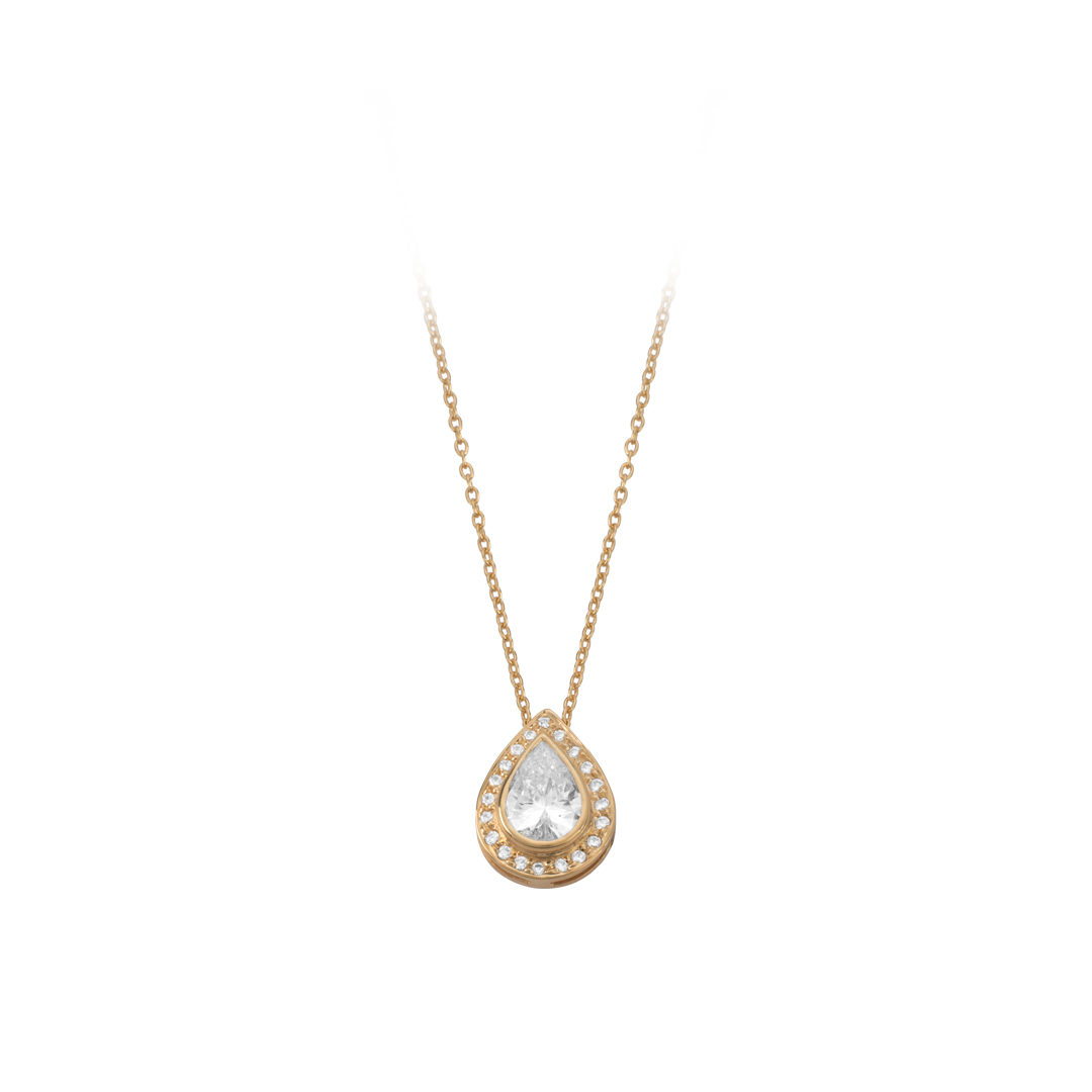 Gold Water Drop Necklace, Colar Gota em Ouro