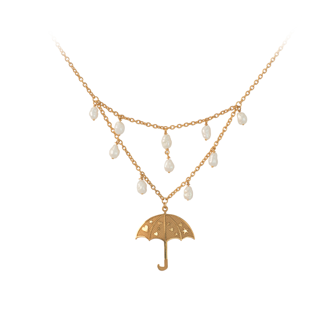 Silver Umbrella Necklace, Colar Guarda Chuva