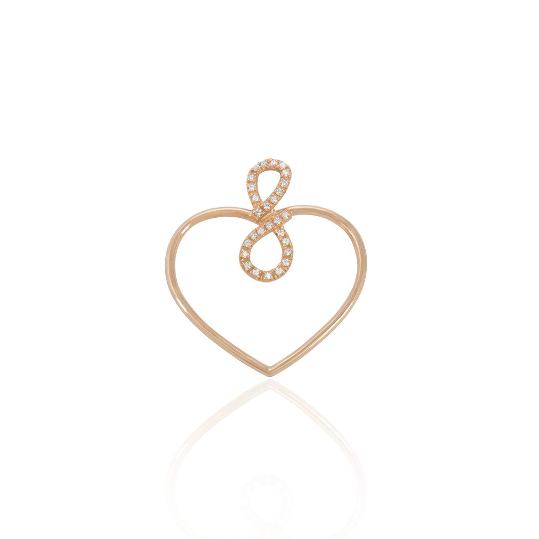 Gold Infinite Heart Medallion, Medalha Coração Infinito em Ouro