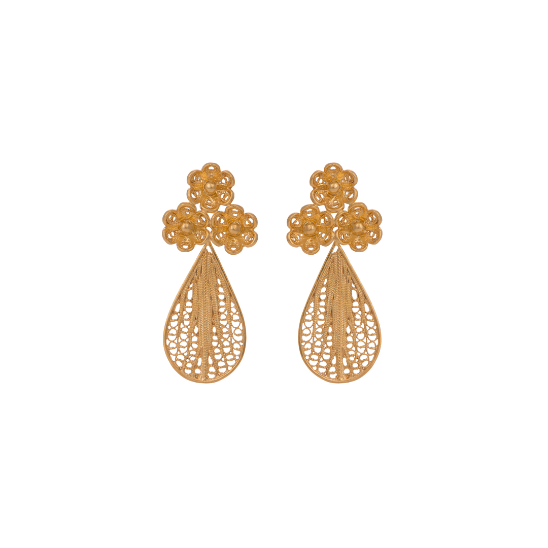 Flower Gold Plated Silver Filigree Earrings Oval,Brincos Filigrana Flores em Prata Oval