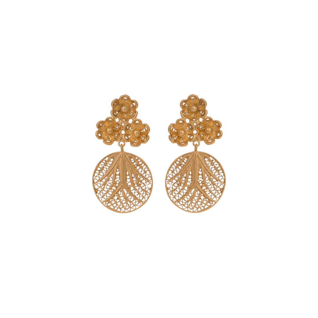 Flower Silver Filigree Earrings, Brincos Filigrana Flores em Prata