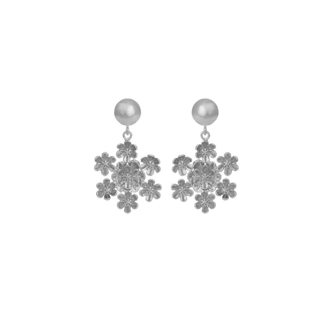 Flower Silver Earrings, Brincos Flores em Prata