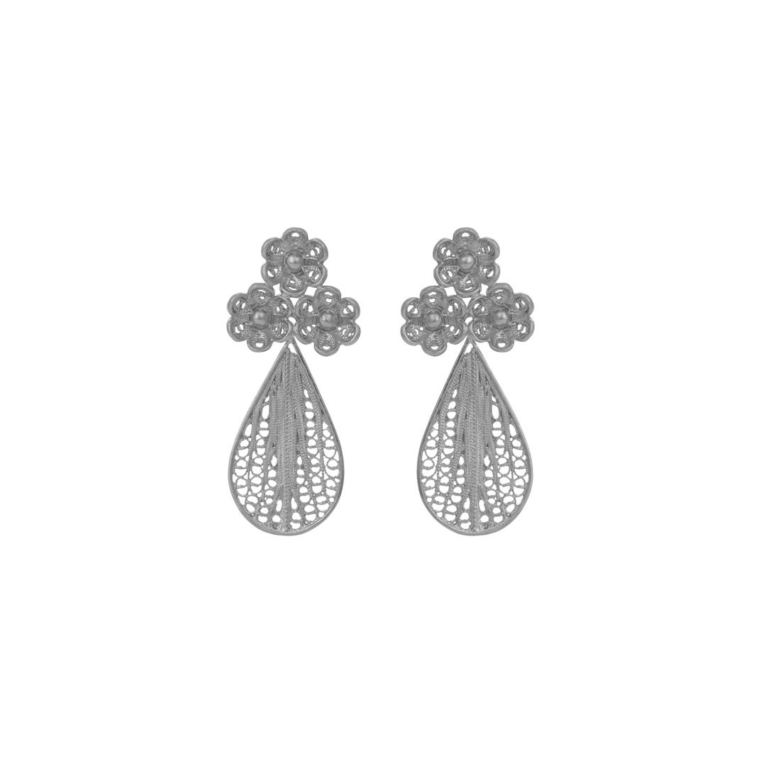 Flower Silver Filigree Earrings Oval,Brincos Filigrana Flores em Prata Oval
