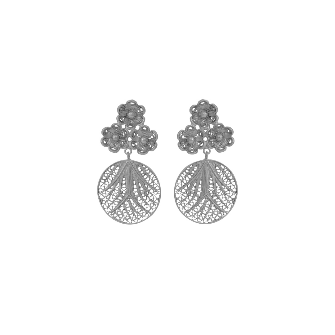 Flower Silver Filigree Earrings, Brincos Filigrana Flores em Prata